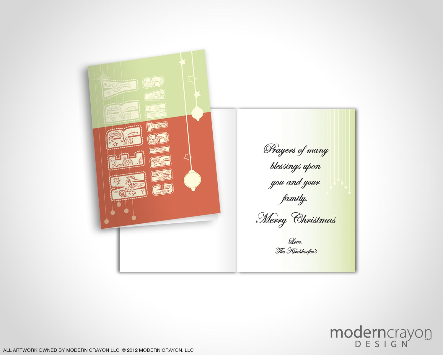 Personal Holiday Greeting Cards Modern Crayon