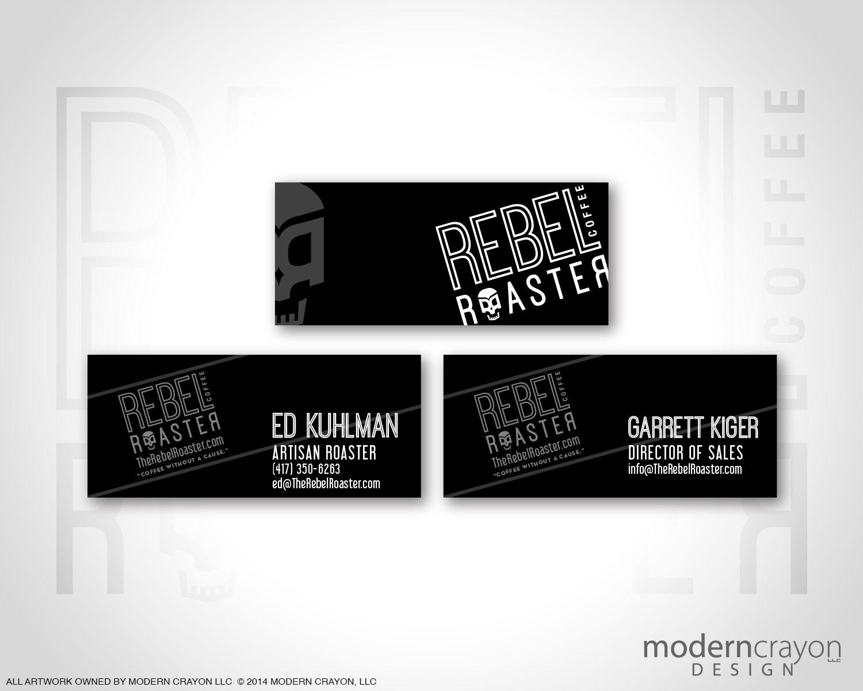 Rebel roaster t shirt design and logo rebrand for Business cards for t shirt business